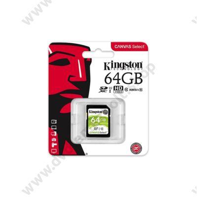 KINGSTON CANVAS SELECT SDXC 64GB CLASS 10 UHS-I U1 (80 MB/s OLVASÁSI - 10 MB/s ÍRÁSI SEBESSÉG)