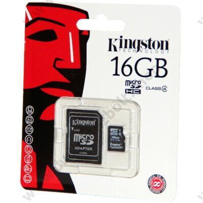 KINGSTON MICRO SDHC 16GB + ADAPTER CLASS 4