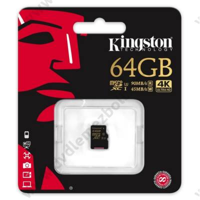 KINGSTON MICRO SDXC 64GB UHS-I U3 CLASS 10 (90 MB/s OLVASÁSI 45 MB/s ÍRÁSI SEBESSÉG)