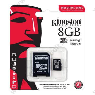 KINGSTON MICRO SDHC 8GB + ADAPTER UHS-I CLASS 10 INDUSTRIAL TEMPERATURE