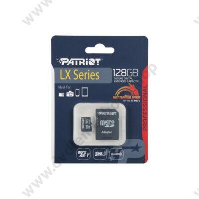 PATRIOT LX SERIES MICRO SDXC 128GB + ADAPTER CLASS 10 UHS-I U1 (85 MB/s OLVASÁSI SEBESSÉG)