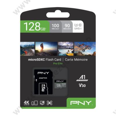PNY PRO ELITE MICRO SDXC 128GB + ADAPTER CLASS 10 UHS-I U3 A1 V30 100/90 MB/s