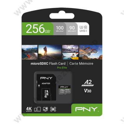 PNY PRO ELITE MICRO SDXC 256GB + ADAPTER CLASS 10 UHS-I U3 A2 V30 100/90 MB/s