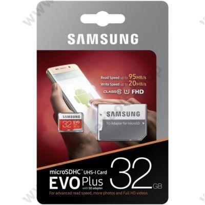 SAMSUNG MICRO SDHC 32GB + ADAPTER CLASS 10 UHS-I EVO+ 95 MB/s OLVASÁSI SEBESSÉG