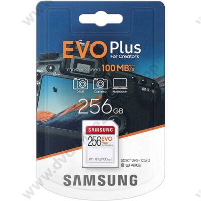 SAMSUNG EVO PLUS SDXC 256GB CLASS 10 UHS-I U3 100 MB/s OLVASÁSI SEBESSÉG