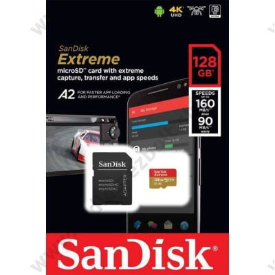 SANDISK EXTREME MOBILE MICRO SDXC 128GB + ADAPTER CLASS 10 UHS-I U3 A2 V30 160/90 MB/s