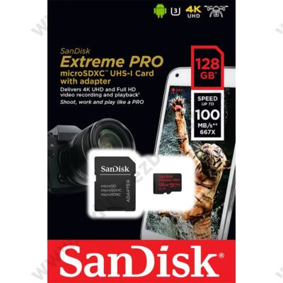 SANDISK EXTREME PRO MICRO SDXC 128GB + ADAPTER CLASS 10 UHS-I U3 A1 V30 100/90 MB/s
