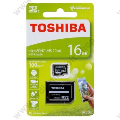 TOSHIBA MICRO SDHC 16GB + ADAPTER CLASS 10 UHS-I U1 (100 MB/s OLVASÁSI SEBESSÉG)