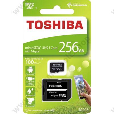 TOSHIBA MICRO SDXC 256GB + ADAPTER CLASS 10 UHS-I U1 (100 MB/s OLVASÁSI SEBESSÉG)