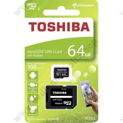 TOSHIBA MICRO SDXC 64GB + ADAPTER CLASS 10 UHS-I U1 (100 MB/s OLVASÁSI SEBESSÉG)