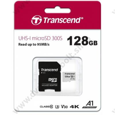 TRANSCEND 300S MICRO SDXC 128GB + ADAPTER CLASS 10 UHS-I U3 A1 V30 (95 MB/s OLVASÁSI SEBESSÉG)