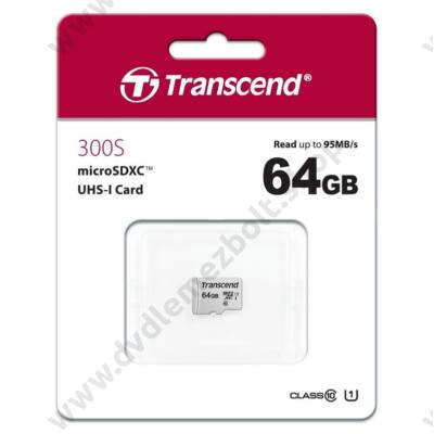 TRANSCEND 300S MICRO SDXC 64GB CLASS 10 UHS-I U1 (95 MB/s OLVASÁSI SEBESSÉG)