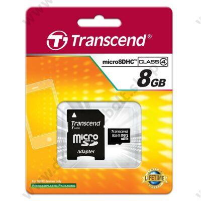 TRANSCEND MICRO SDHC 8GB + ADAPTER CLASS 4
