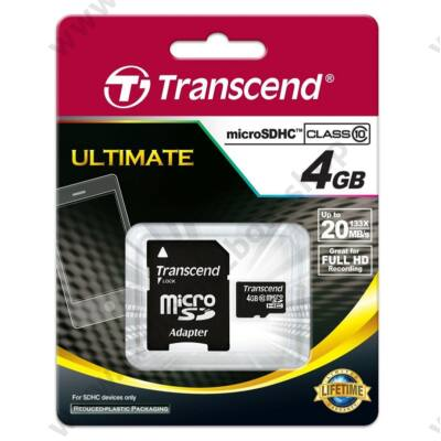 TRANSCEND ULTIMATE MICRO SDHC 4GB + ADAPTER CLASS 10