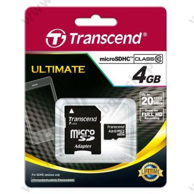 TRANSCEND ULTIMATE MICRO SDHC 4GB + ADAPTER CLASS 10