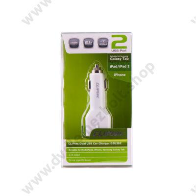 CLIPTEC GZU392 DUAL USB AUTÓS TÖLTŐ 2.1A FEHÉR