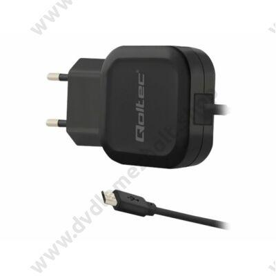 QOLTEC HÁLÓZATI USB TÖLTŐ MICRO USB KÁBELLEL 12W 5V 2.24A FEKETE