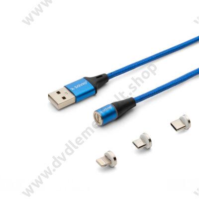 SAVIO CL-157 MÁGNESES 3-IN-1 USB TÖLTŐ ÉS ADATKÁBEL USB-C + APPLE LIGHTNING + MICRO USB 2m KÉK