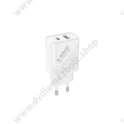 SAVIO LA-04 HÁLÓZATI TÖLTŐ USB/USB-C PORT QC/PD 3.0 3A 18W FEHÉR