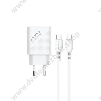 SAVIO LA-05 HÁLÓZATI TÖLTŐ SZETT USB/USB-C PORT QC/PD 3.0 3A 18W FEHÉR + USB-C/USB-C TÖLTŐ ÉS ADATKÁBEL 1m