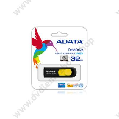 ADATA USB 3.0 DASHDRIVE CLASSIC UV128 32GB FEKETE/SÁRGA
