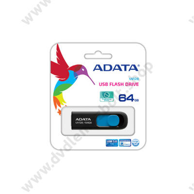 ADATA USB 3.0 DASHDRIVE CLASSIC UV128 64GB FEKETE/KÉK