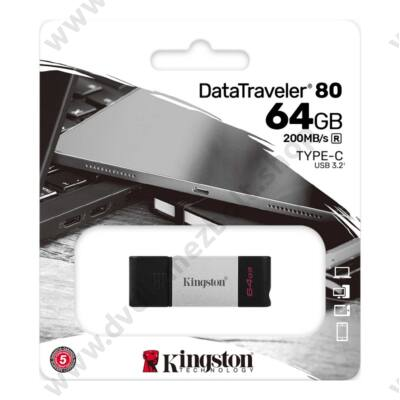 KINGSTON DATATRAVELER 80 USB-C 3.2 GEN 1 PENDRIVE 64GB