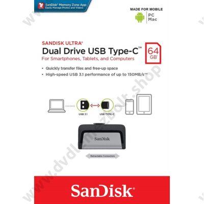 SANDISK ULTRA DUAL DRIVE USB 3.1 TYPE-C/USB 3.1 OTG PENDRIVE 64GB